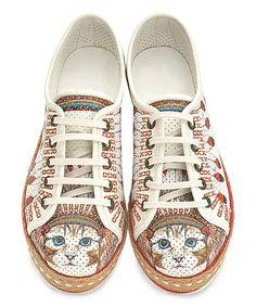 Look at this #zulilyfind! White & Red Perforated Cat Espadrille Sneaker #zulilyfinds
