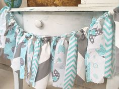 Elephant Baby Shower Banner Aqua Blue and by PrettyBoutiqueParty