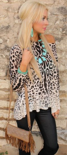 Glam Gypsy Fringe crossbody/clutch – The Lace Cactus Enter code at checkout for off - Style & Fashion Trends - Fashion Ideas - Style & Fashion Trends - Fashion Ideas Leopard Print Outfits, Leopard Print Top, Leopard Blouse, Leopard Sweater, Cheetah, Casual Outfits, Cute Outfits, Fashion Outfits, Passion For Fashion