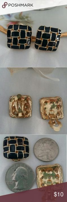"""Navy and Gold-toned Square Clip Earrings Clip earrings.  Color is hard to distinguish.  Sometimes earrings appear very dark blue.  Other times they appear black depending on lighting.  Size: 3/4"""" square.  Remember to bundle and save. Jewelry Earrings"""