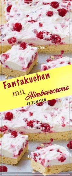 Fantakuchen mit Himbeercreme – Fantasy cake with raspberry cream – tomatoes Chocolate Cookie Recipes, Easy Cookie Recipes, Chip Cookie Recipe, Easy Desserts, Delicious Desserts, Baked Cheesecake Recipe, Homemade Cheesecake, Cheesecake Cookies, Cheesecake Bites