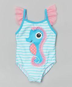 Look at this #zulilyfind! Blue & Pink Seahorse Ruffle One-Piece - Infant by Candlesticks #zulilyfinds
