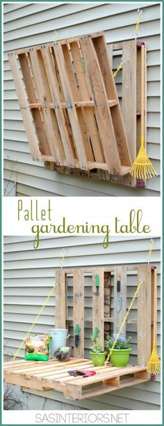 Vertical pallet gardening table, could put this on the side of the deck in my gardening center