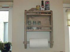 Pallet Kitchen Spice Rack and Roll Holder