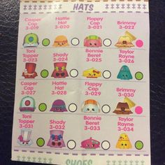 Much Clearer Shopping List: Hats #shopkins #shopkinsseason3 #Repost  @shopkins_season3