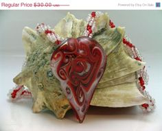 14 Percent Off for 2014 Red Glass Heart Pendant and Seed Bead Necklace