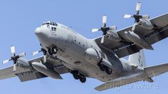 Lockheed C-130 Hercules (74-1674) USAF, C130H, on short finals to Townsville, RAAF Air Base.