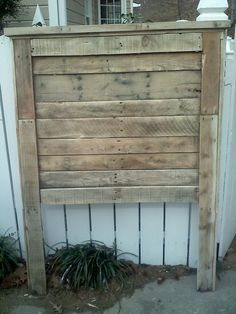 The classic natural twin pallet headboard.