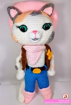 Amigurumis, amigurumis patrones gratis, crochet serriff callie, sheriff callie, Knitted Cat, Knitted Dolls, Crochet Dolls, Amigurumi Doll, Amigurumi Patterns, Crochet Patterns, Cute Sewing Projects, Crochet Projects, Crochet Disney