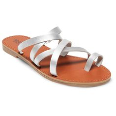 Women's Lina Slide Sandals Mossimo Supply Co. - Silver 5.5