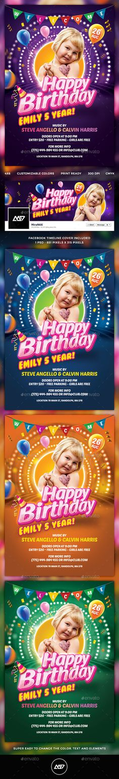 Kids Birthday Flyer — Photoshop PSD #greeting card #celebration • Available here → https://graphicriver.net/item/kids-birthday-flyer/12279252?ref=pxcr