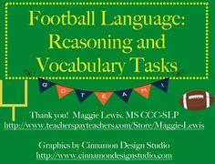 Football Speech Therapy- Reasoning, Language, and Vocabulary