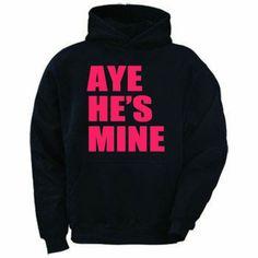 Mens & Womens Black w/Neon Pink Aye Hes Mine Couple Love Match Hoodie Sweatshirt