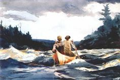 Winslow Homer (February 24, 1836 - September 29, 1910) - Canoe in the rapids, 1897