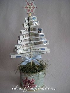 Christmas money trees for Christmas Christmas Time, Christmas Crafts, Christmas Decorations, Homemade Gifts, Diy Gifts, Don D'argent, Money Trees, Diy Presents, Christmas Gift Wrapping