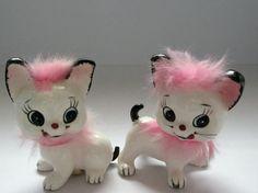 Salt and Pepper Shakers Vintage Japan Pink Kittens
