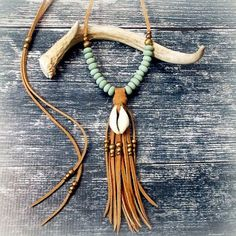 Cowrie Shell Necklace Suede Leather Tassel Necklace Fringe Necklace - MINT - Boho Jewelry Bohemian Jewelry Tribal Necklace Festival Jewelry