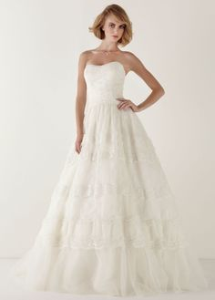 Strapless Lace Ballgown with Tiered Skirt - David's Bridal - mobile
