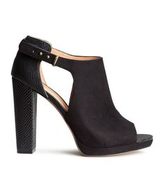 Black heeled sandals in faux suede & snakeskin-print imitation leather. | H&M Shoes