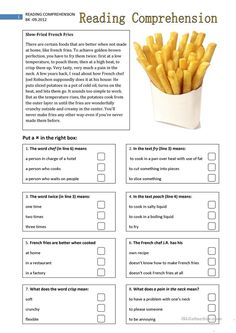 Reading Comprehension 2 - English ESL Worksheets for distance learning and physical classrooms Reading Comprehension Activities, Reading Worksheets, Reading Passages, Printable Worksheets, Comprehension Strategies, Free Printable, Free Worksheets, Vocabulary Activities, Preschool Worksheets