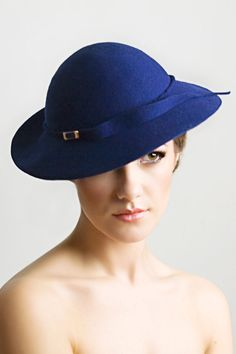 Regal Blue Hat in Wool Felt Large Brimmed by MaggieMowbrayHats