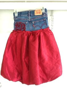 Repurposed girls levis and pageant dress into by DejaVuWearableArt, $36.00