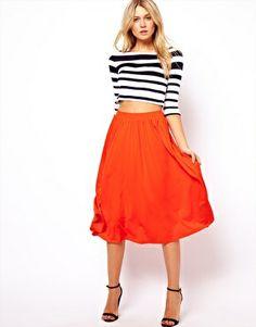Enlarge ASOS Full Midi Skirt orange