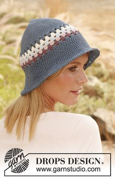 "Sweet Dahlia / DROPS 136-20 - Virkad DROPS hatt i ""Muskat"""