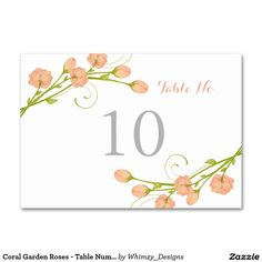 Coral Garden Roses - Table Number Card Table Cards