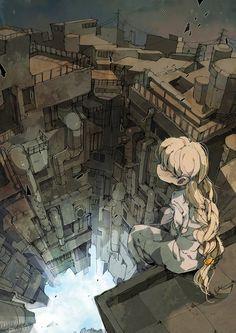 32 Surreal Anime Illustrations by Pozuka-san Manga Art, Anime Art, Illustration Art, Illustrations, Anime Kunst, Environment Design, Fantasy Landscape, Anime Scenery, Storyboard