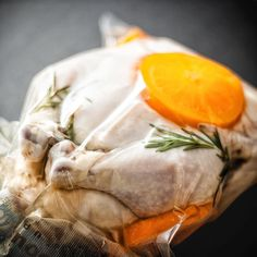 Whole happy chicken sous vide. 144F 4 hours. The chicken will be cooking in a brine thats 1.5% salt and 1% brown sugar.Added a few herbs and orange rounds. I will be making flash fried chicken this weekend.One of the cool things about using a low salinity solution is that you can use the bag juices and make stock thats just salty enough. Equilibrium brining takes longer but its great. Once the chicken is cooked it will be ready only after about 24 hours. Thats when the equilibrium is reached…