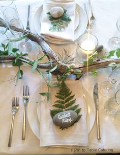 wedding table decor Custom Enchanted Woodland Table Decor Place Settings with Natural Elements in Your Choice of Wood & Stone Fern Wedding, Woodland Wedding, Wedding Flowers, Enchanted Forest Wedding, Nautical Wedding, Wedding Centerpieces, Wedding Bouquets, Forest Wedding Decorations, Moss Wedding Decor