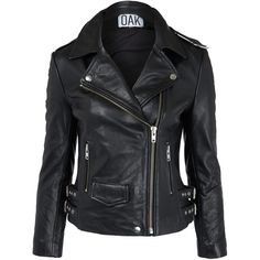 Oak Black Leather Biker Jacket (985 CAD) ❤ liked on Polyvore featuring outerwear, jackets, leather jackets, coats, coats & jackets, black moto jacket, real leather jacket, heavy jacket, black biker jacket and black leather jacket