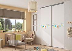 Chambre bébé : porte de placard modèle Pixô. Personnalisez vos portes avec notre sélection d'images. Decoration, Divider, Room, Images, Furniture, Home Decor, Small Wardrobe, Baby Nursery Furniture, Small Beds
