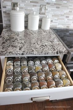 17 Fabulous Spice Rack Ideas (A Solution for Your Kitchen Storage) #diy #dollarstores #kitchen #storage #repurposed #spacesaving #cabinetorganization #wall