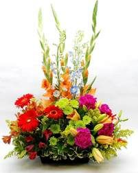 A Summer English Garden - Tall, colorful gladiolas, blue delphinium, orange… Beach Flowers, Summer Flowers, Silk Flowers, Easter Flowers, Flower Delivery Service, Same Day Flower Delivery, Funeral Flower Arrangements, Floral Arrangements, Garden Design Software