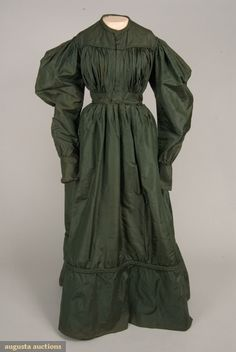 Bottle Green Silk Faille Dress, Late 1820s, Augusta Auctions, November, 2007 -Tasha Tudor Historic Costume Collection, Lot 22