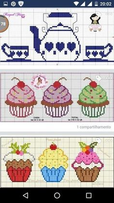This post was discovered by Filiz Coşkun. Discover (and save!) your own Posts on Unirazi. Cupcake Cross Stitch, Cactus Cross Stitch, Cross Stitching, Cross Stitch Embroidery, Embroidery Patterns, Cross Stitch Designs, Cross Stitch Patterns, Stitch Cartoon, Cross Stitch Kitchen