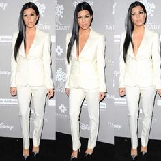 Kourtney kardashian white suit, straight hair, love it,  look of the night