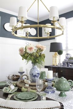See our house paint colors and how they mix together throughout the flow of our home. Main shade of greige mixed with hues of gray/green/blues. Peacock Living Room, Blue And White Rug, Table Setting Inspiration, Paint Colors For Home, Magnolia Homes, Room Set, House Painting, Southern Hospitality, Table Settings