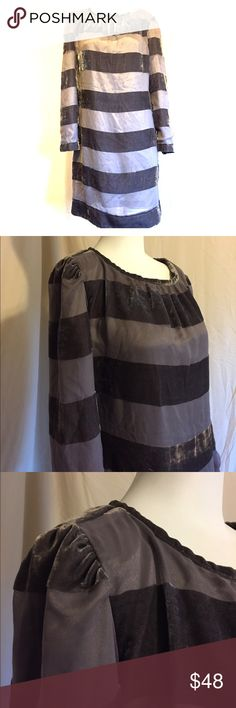 Jessica Simpson shift party dress Silver-grey shift dress, 3/4 sleeve, keyhole back, soft velveteen horizontal stripes, wide stripes, zip ip back. So adorable, in great condition! Jessica Simpson Dresses Mini