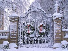 Wreaths on gate