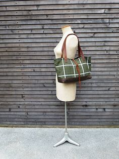 Wool tote bag with cognac color oiled leather by treesizeverse, $119.00