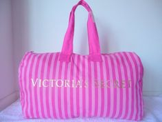 Victoria's Secret Extra Large Weekender Canvas Duffle Bag Canvas Duffle Bag, Duffel Bags, Victoria Secret Outfits, Striped Canvas, Pink Satin, Pink Stripes, Vs Pink, Victoria's Secret Pink, Purses And Bags