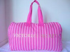 Victoria's Secret Extra Large Weekender Canvas Duffle Bag Canvas Weekender Bag, Duffle Bag Travel, Duffel Bags, Victoria Secret Outfits, Victoria Secret Bags, Used Victoria, Striped Canvas, Pink Stripes, Victoria's Secret Pink