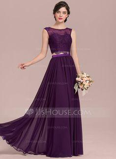 [£88.00] A-Line/Princess Scoop Neck Floor-Length Chiffon Lace Bridesmaid Dress