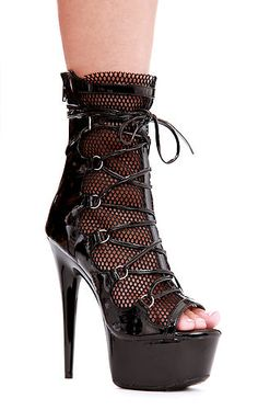 - 6 Inch Heel Ankle Boot by Ellie Shoes. 6 inch stiletto peep toe calf boot with 2 inch platform. Front is made with sexy mesh and has lace-up front. Black Stiletto Heels, Pointed Heels, Black Stilettos, Black Shoes, Gothic Shoes, Calf Boots, Women's Boots, High Heel Boots, High Heels