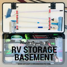 The basement of an RV can vary in size greatly. Ours is a huge pass-through, so we use a number of organizers to keep everything neatly pack. Rv Camping Tips, Travel Trailer Camping, Camping Storage, Rv Storage, Travel Trailer Living, Camping Ideas, Rv Camping Checklist, Camping Products, Van Camping