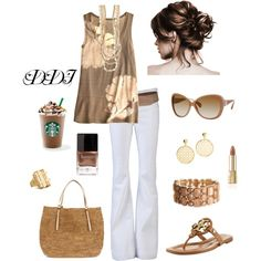 Caramel with White Jeans, created by dawndayiannelli on Polyvore