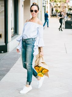 How to style an off-the-shoulder top  California Casual Street Style   Inspired By Gigi Hadid – Sydne Style